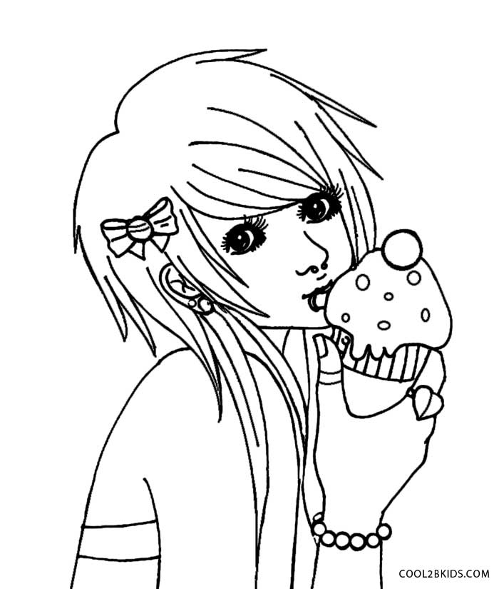 Printable Emo Coloring Pages For
