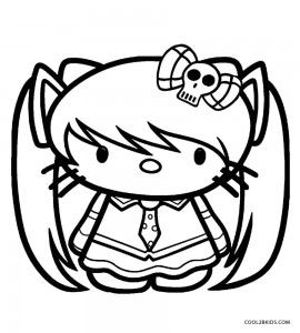 Emo Hello Kitty Coloring Pages