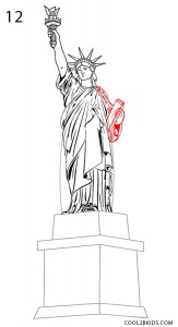How to Draw the Statue of Liberty Step 12