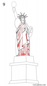 how to draw the statue of liberty face