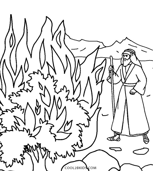 moses and the burning bush coloring pages - printable moses coloring pages for kids cool2bkids