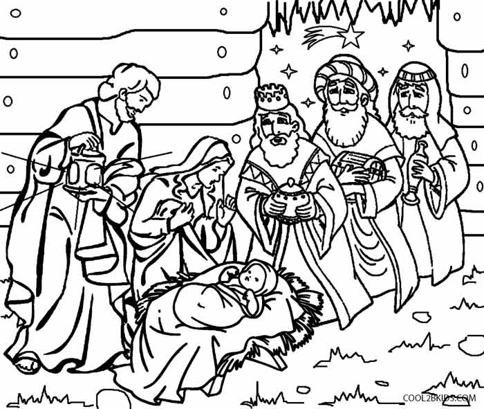 Nativity Scene Character Coloring Pages