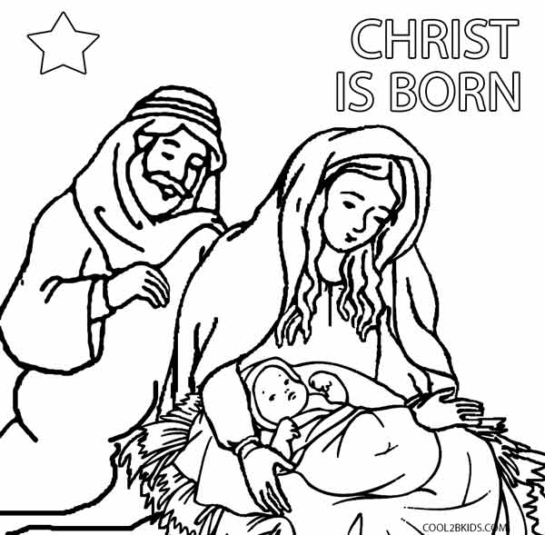 This is a graphic of Adorable Free Printable Nativity Coloring Pages