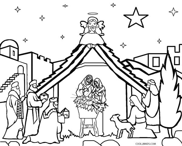 Printable Nativity Scene Coloring Pages for Kids | Cool2bKids