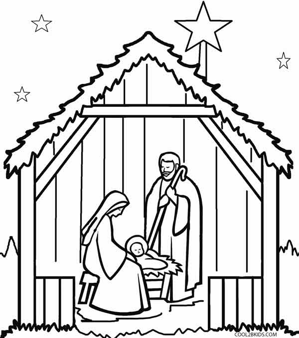coloring pages of nativity scene - photo#22
