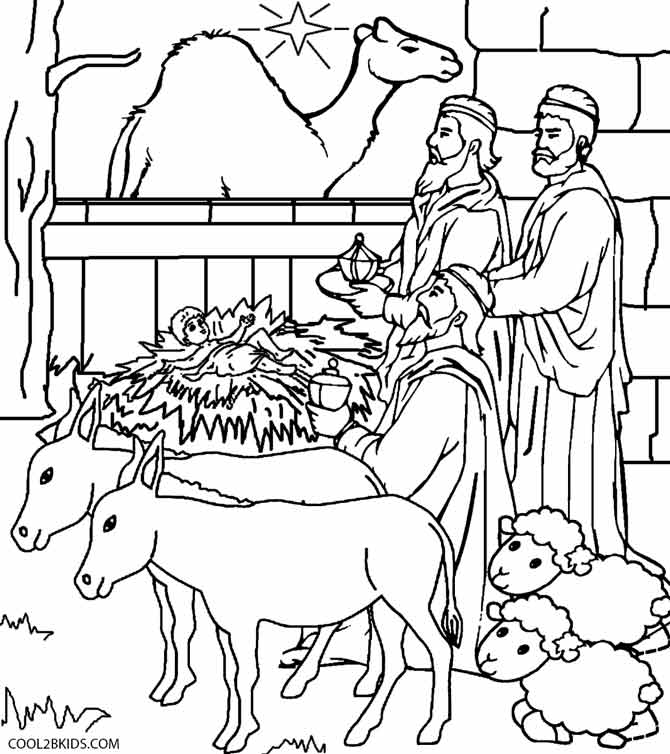 Easy Nativity Scene To Color