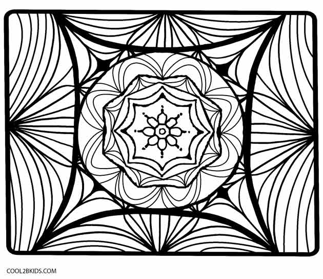 Square Kaleidoscope Coloring Pages