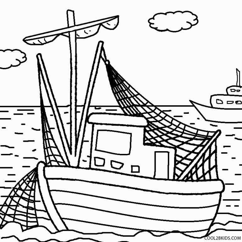 coloring book pages boat - photo#1