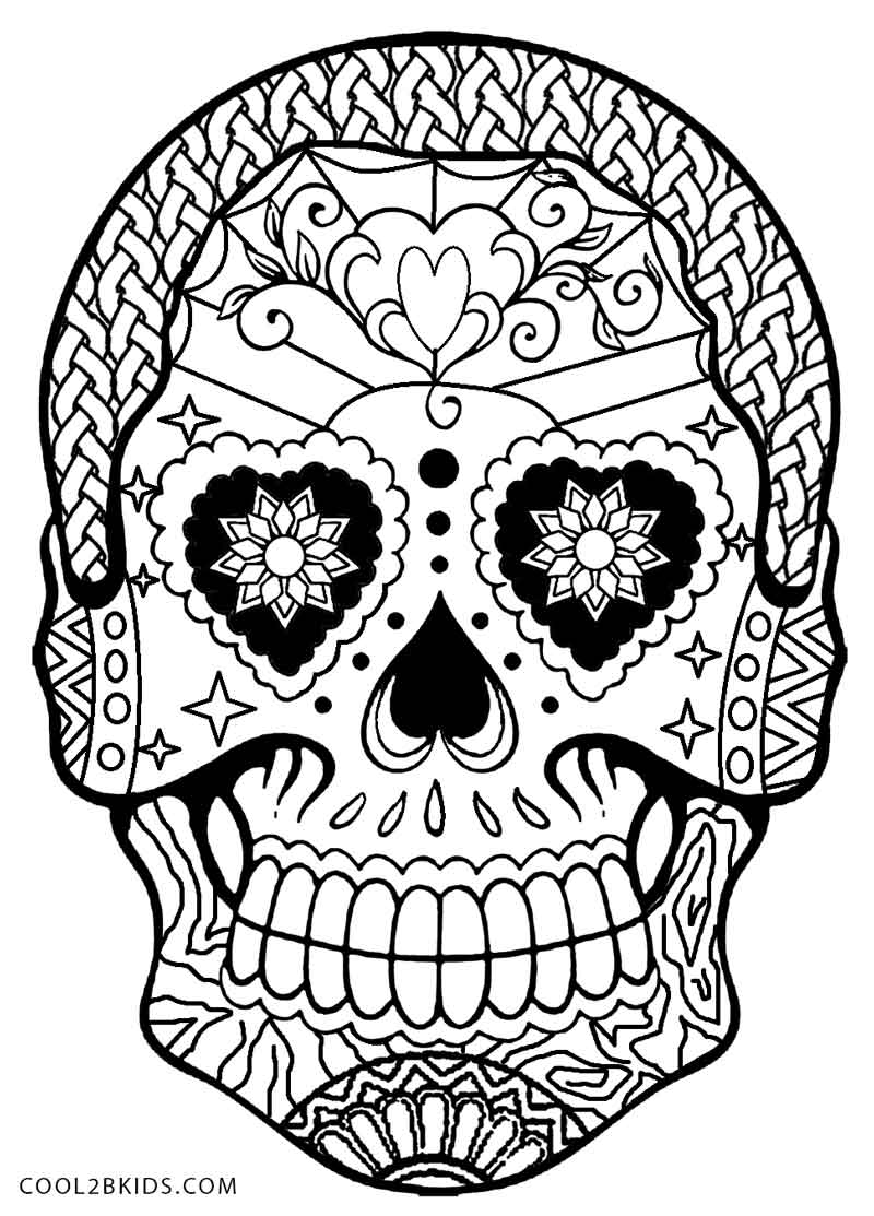 Printable skulls coloring pages for kids cool2bkids for Day of the dead skull mask template
