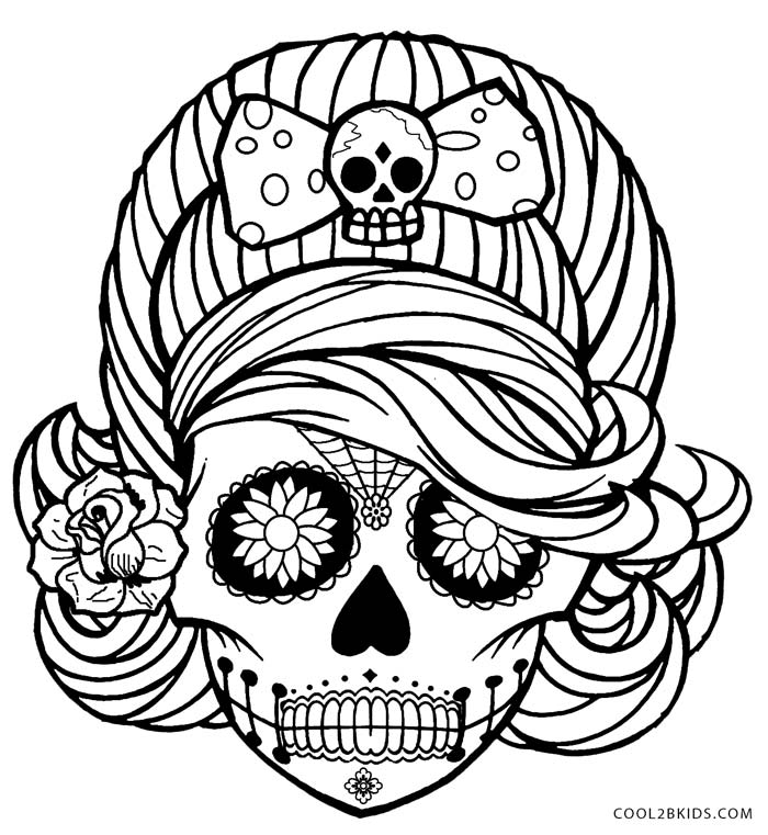 Coloring Pages For Girls: Printable Skulls Coloring Pages For Kids