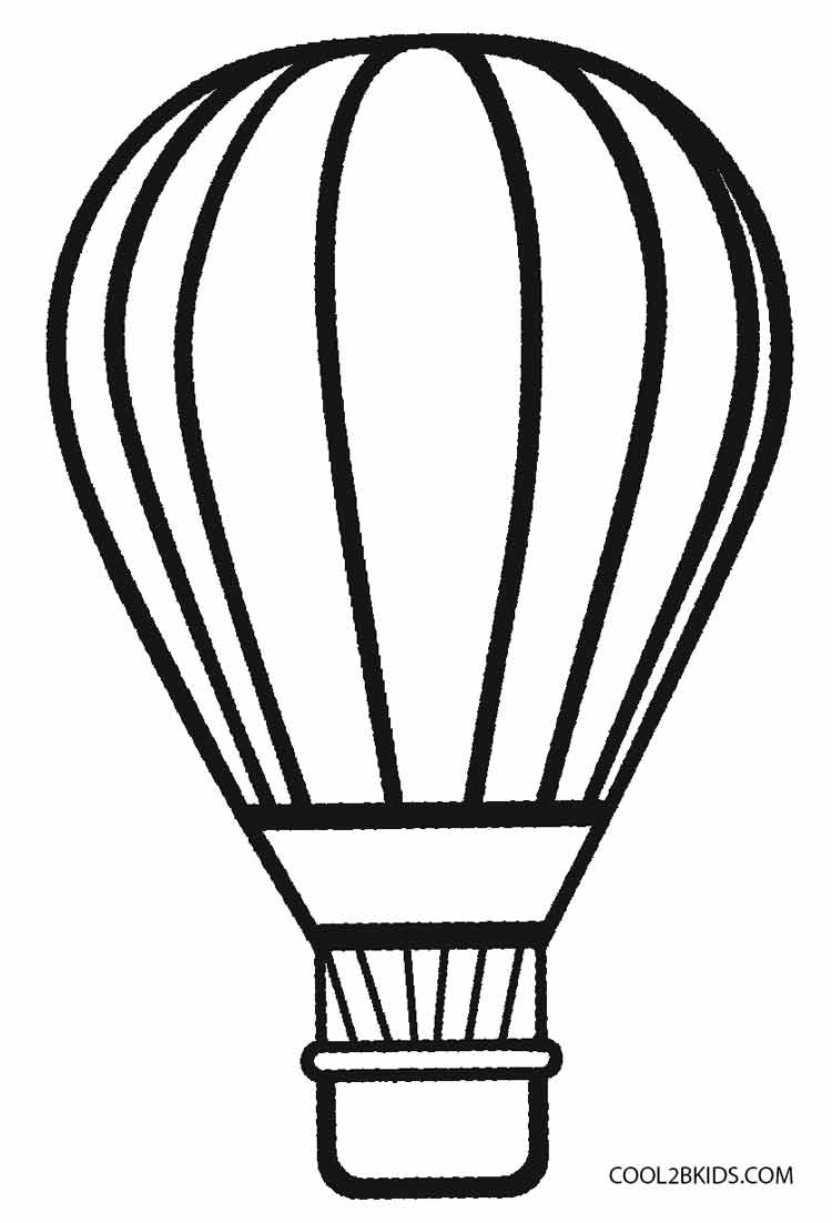Hot Air Balloon Preschool Coloring Page