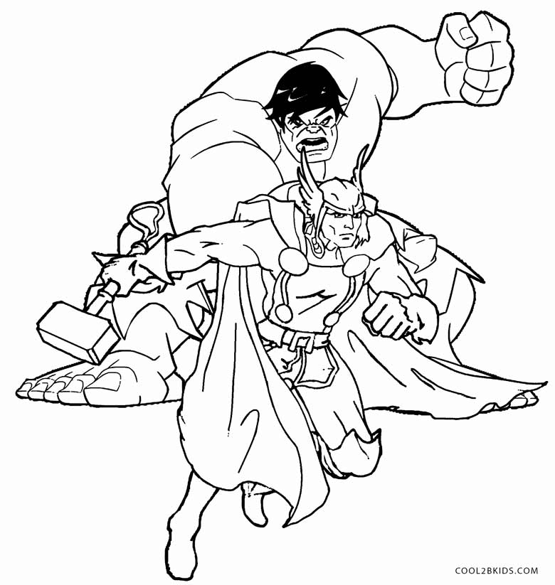 Hulk and thor coloring pages