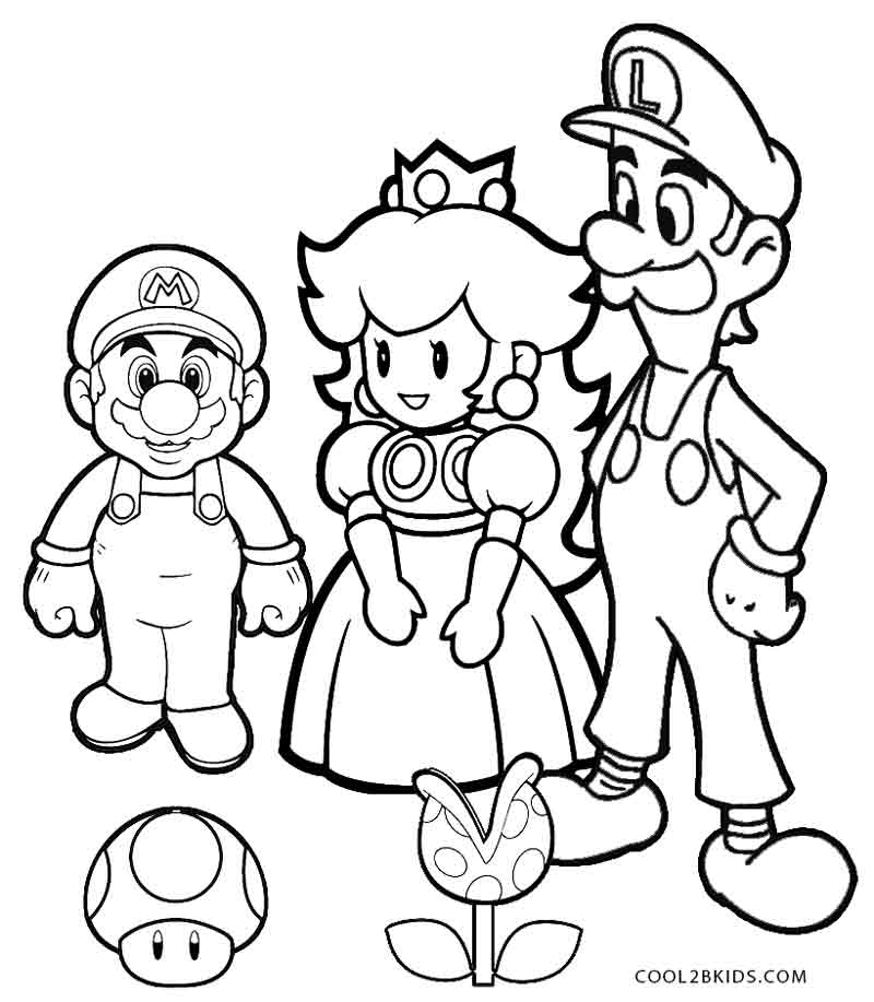Printable Luigi Coloring Pages