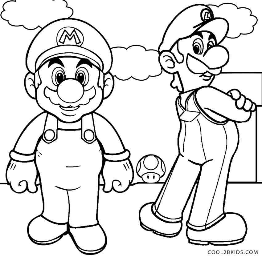 Luigi Mario Colouring Pages Page 2