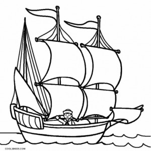 Mayflower Boat Coloring Page