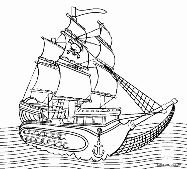 pirate boat coloring page - Boat Coloring Pages