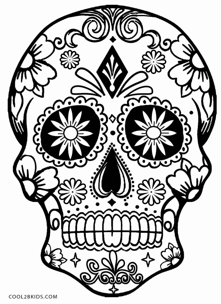Sugar Skull Template Printable Skulls Coloring Pages For Kids