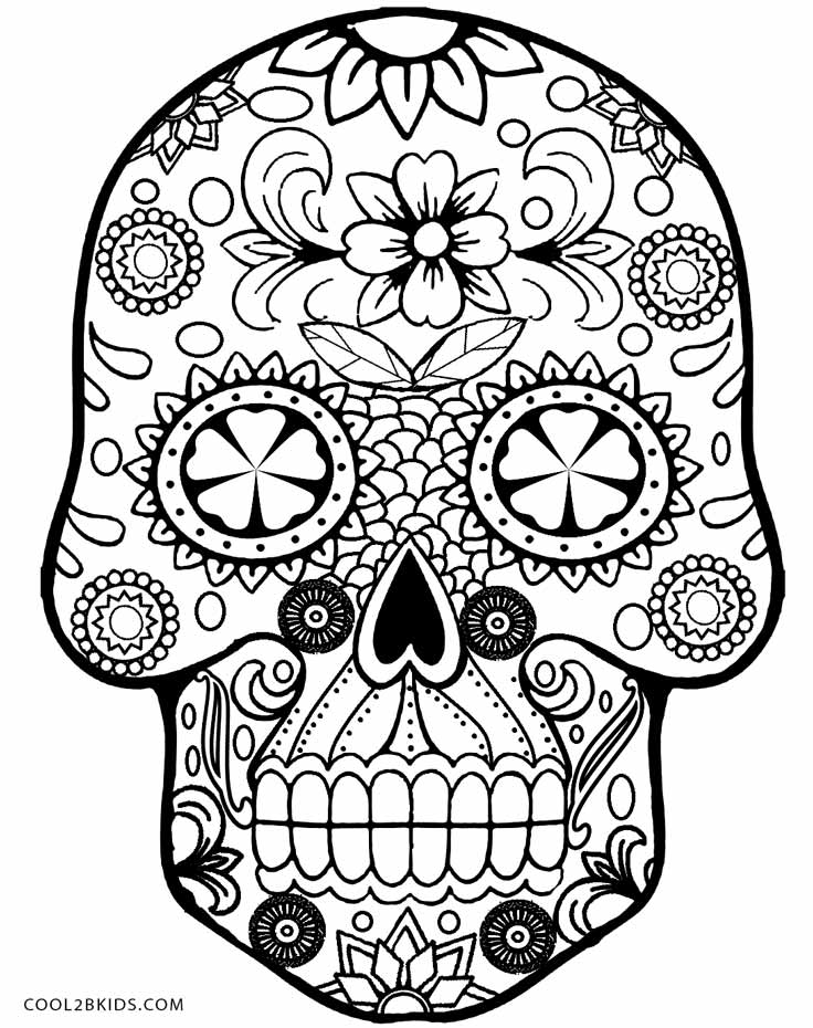 Revered image pertaining to free printable sugar skull coloring pages