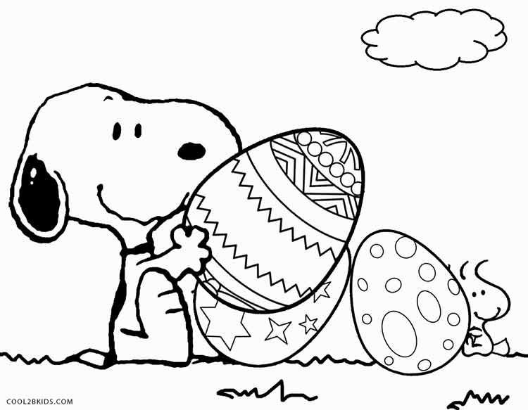 Printable snoopy coloring pages for kids cool2bkids for Free easter coloring page