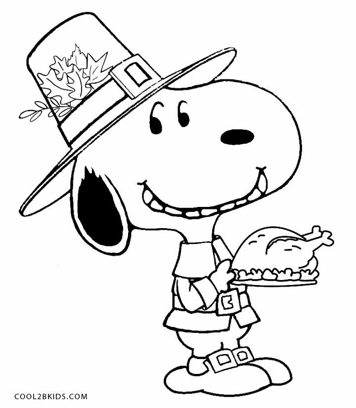 Printable snoopy coloring pages for kids cool2bkids for Free thanksgiving color pages