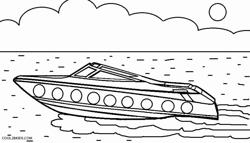 speed boat coloring pages - printable boat coloring pages for kids cool2bkids