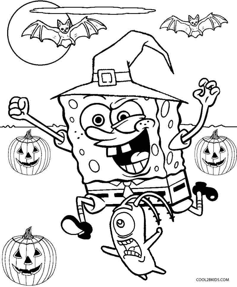 Printable spongebob coloring pages for kids cool2bkids for Halloween pictures to colour in