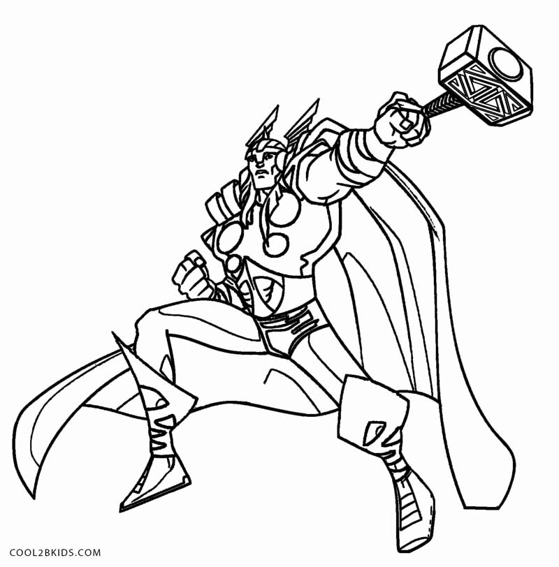 Thor coloring page for children | 812x800