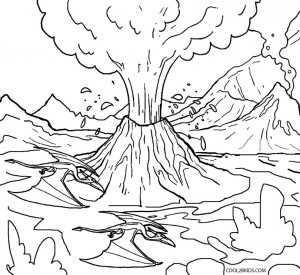 V is for Volcano Coloring Pages