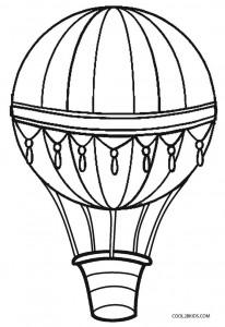Vintage Hot Air Balloon Coloring Page