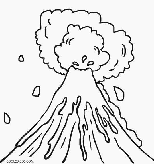 Volcano coloring pages kids