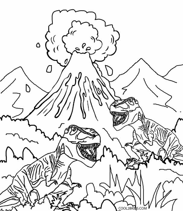 Marvelous Volcano Dinosaur Coloring Pages