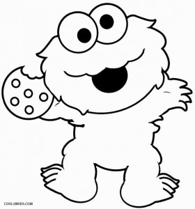 Baby Cookie Monster Coloring Page