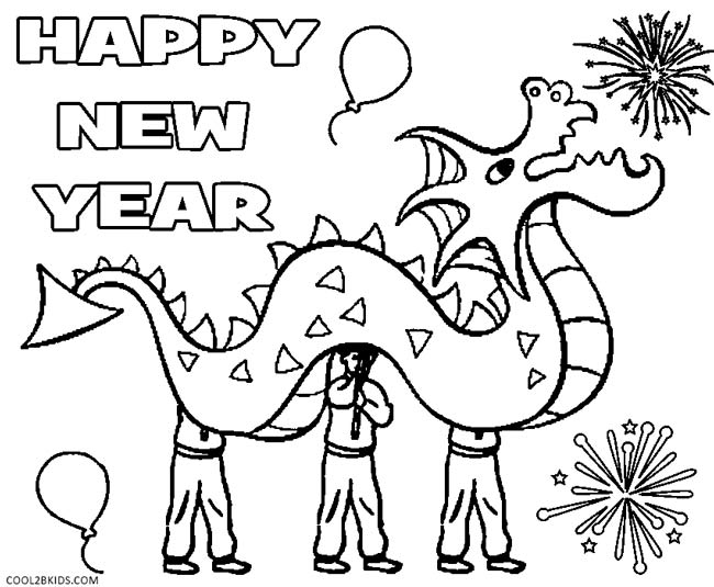 Happy New Year Hat Coloring Sheet