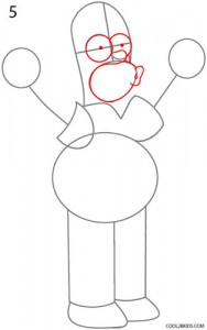 How to Draw Homer Simpson Step 5