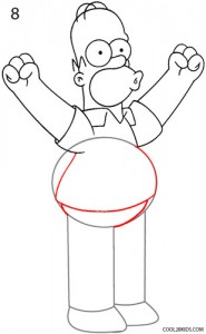 How to Draw Homer Simpson Step 8