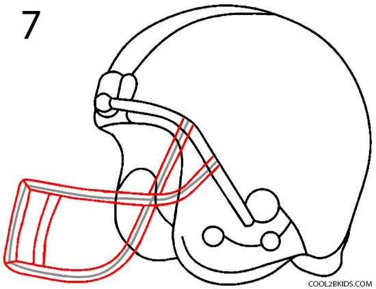 how to draw a football helmet step 7