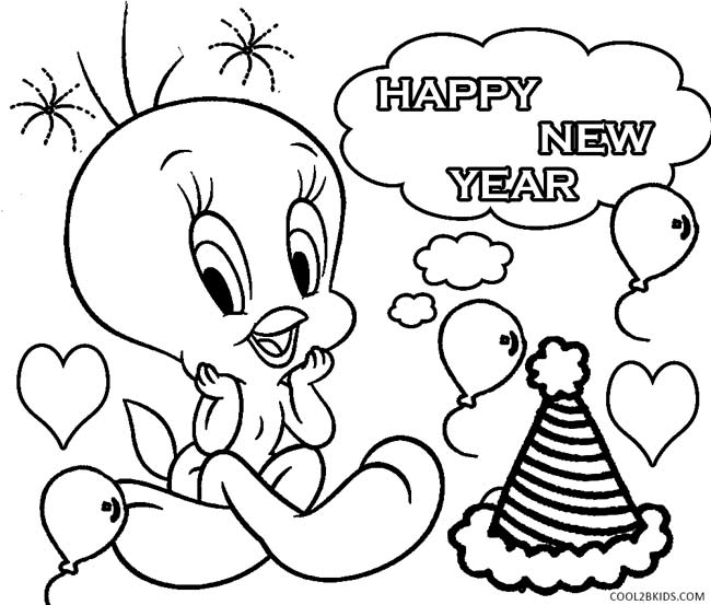 New Years Printable Coloring Pages New Year Coloring Pages