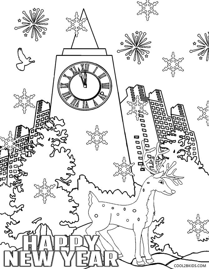 new years eve coloring pages - photo#7