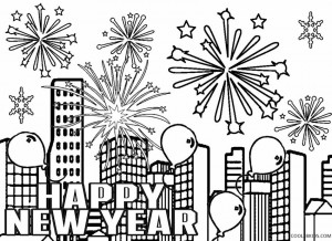 New Years Fireworks Coloring Pages