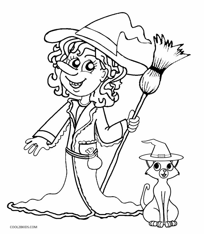Pretty witch coloring pages