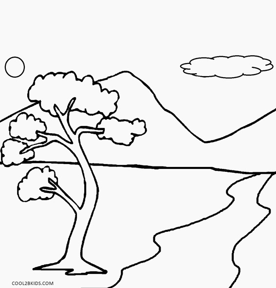 simple nature coloring pages - Coloring Pages Simple