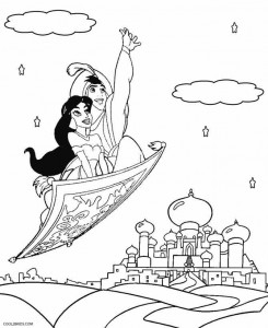 Aladdin and Jasmine Coloring Pages
