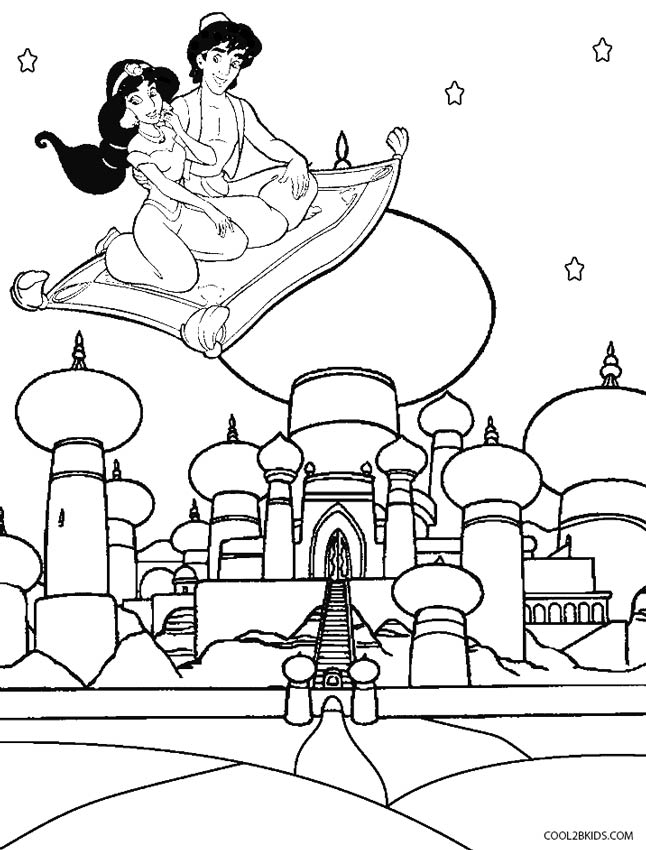aladdin and jasmine coloring pages - Aladdin Jasmine Coloring Pages
