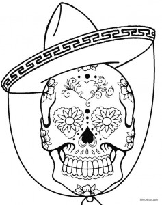 Cinco de Mayo Skull Coloring Pages