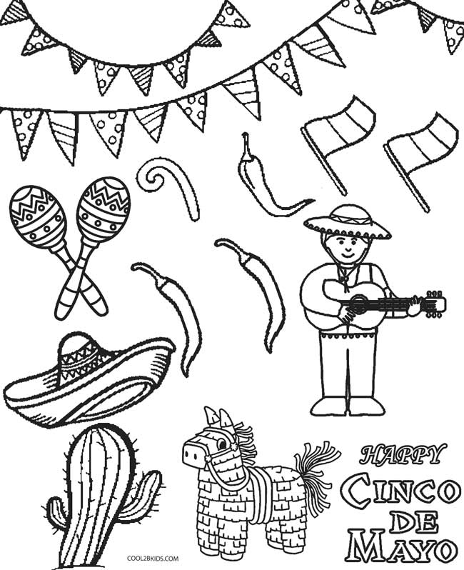 Feliz cinco de mayo coloring pages
