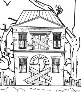 Haunted House Coloring Pages on mansion front view