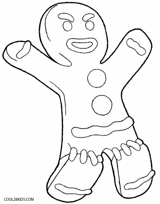 gingerbread man shrek coloring page