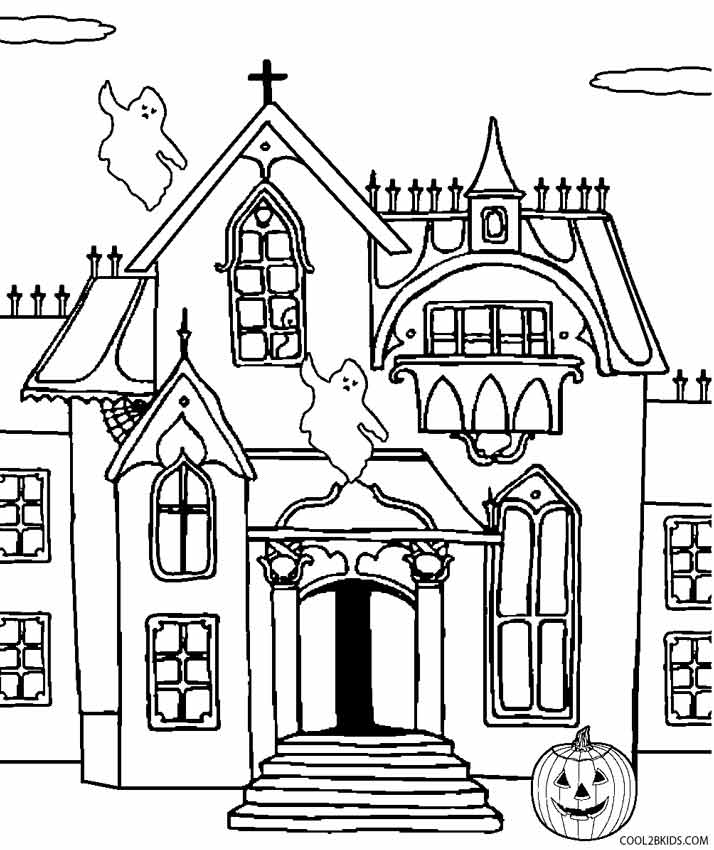 scary halloween house coloring pages - photo#11