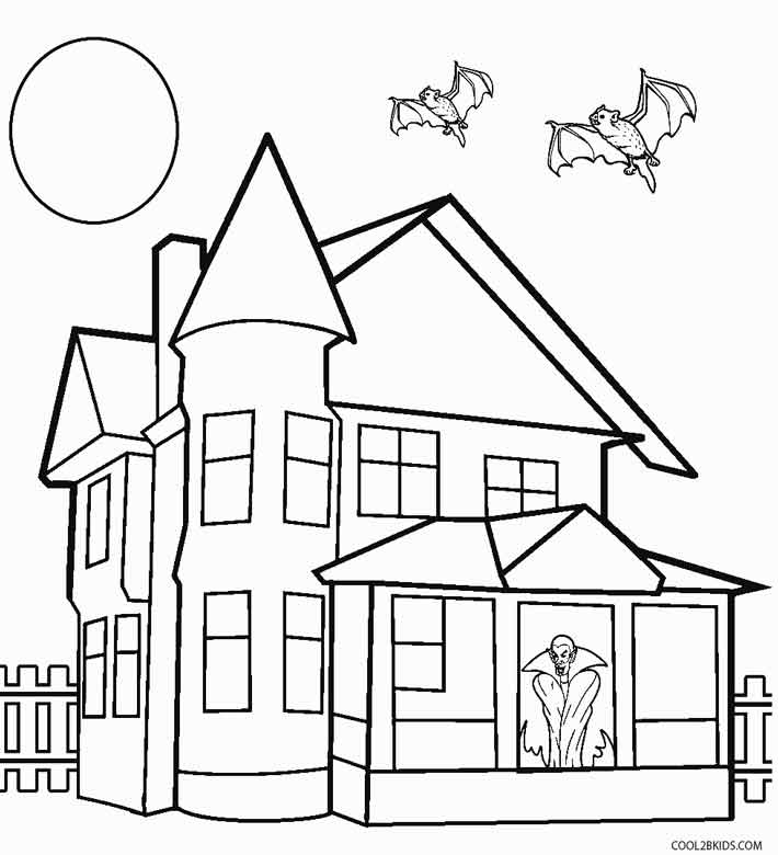 Printable haunted house coloring pages for kids cool2bkids Haunted house drawing ideas