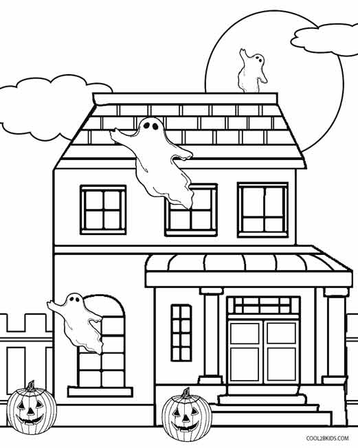 scary halloween house coloring pages - photo#29